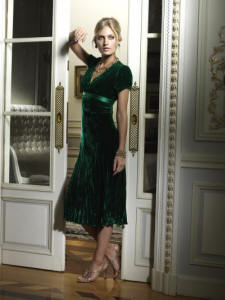 Green velvet evening dress from Phase Eight - available autumn winter 2006/7